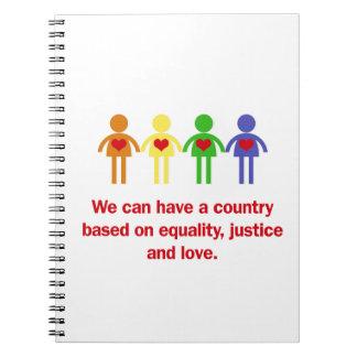 Ein Land basiert auf Gleichheit, Gerechtigkeit und Notizblock