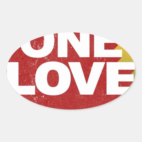 Ein Liebe-Plakat Ovaler Aufkleber