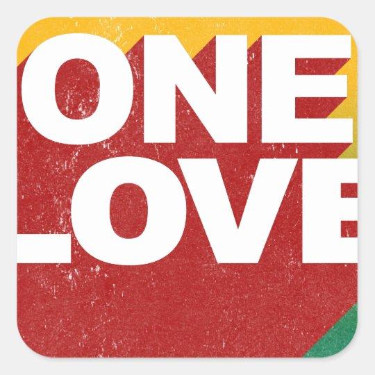 Ein Liebe-Plakat Quadratischer Aufkleber