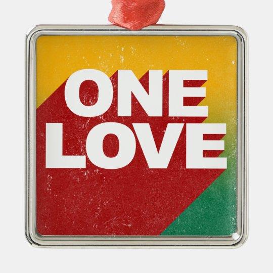 Ein Liebe-Plakat Quadratisches Silberfarbenes Ornament
