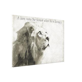 Ein Löwe lässt das schnellste laufen, wenn er Leinwanddruck