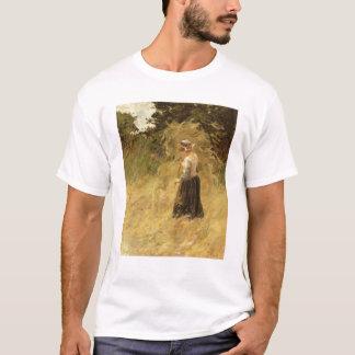 Ein Mädchen, das Heu, 19. Jahrhundert erntet T-Shirt