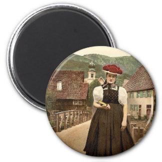 Ein Mädchen des Schwarzwalds, Schwarzwald, Baden, Runder Magnet 5,1 Cm