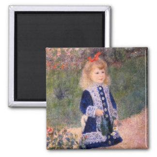 Ein Mädchen mit einer Gießkanne durch Pierre Renoi Quadratischer Magnet