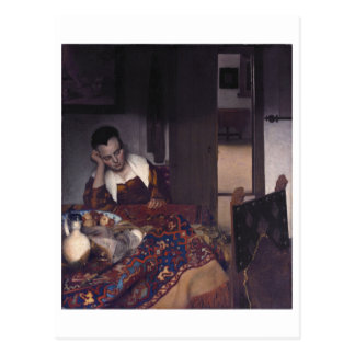 Ein Mädchen schlafend durch Johannes Vermeer Postkarte