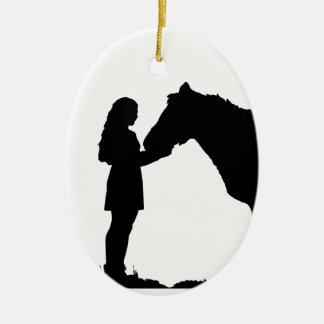 Ein Mädchen u. ihre PferdeLiebe-Silhouette-Kunst Keramik Ornament