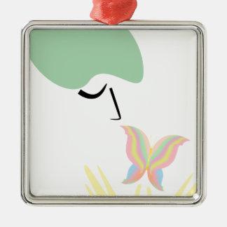 Ein Mädchen und ein Schmetterling Silbernes Ornament