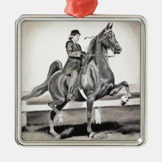 Ein Mädchen und ein Traum durch Linda Dalziel Quadratisches Silberfarbenes Ornament