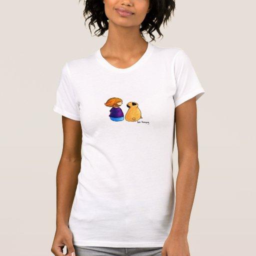 Ein Mädchen und ihr Mops (blond) T-shirt