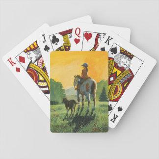 Ein Mädchen und ihre Pferdespielkarten Spielkarten