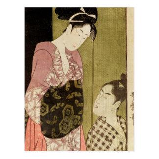 Ein Mann, der eine Frau malt Postkarte