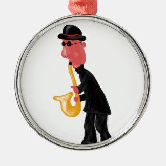 Ein Mann, der Saxophon spielt Silbernes Ornament