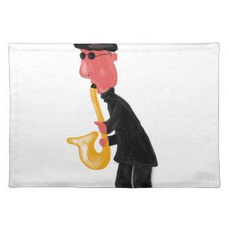 Ein Mann, der Saxophon spielt Tischset