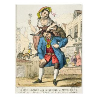 Ein Mann lud mit Unfug oder Ehestand, c.1766 Postkarte