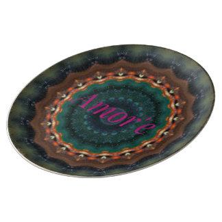 Ein mehr Liebemandala-Muster Teller Aus Porzellan