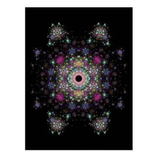 Ein mehrfarbiges Fraktal Design Postkarte