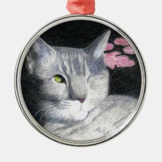 Ein mit Augen Jack-GrauTabby Silbernes Ornament