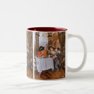 Ein Mittagessen (Le Dejeuner) durch James Tissot Zweifarbige Tasse