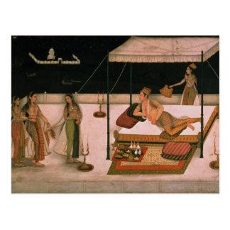 Ein Mughal Prinz, der eine Dame nachts empfängt Postkarte