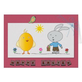 Ein nettes Ostern, ein niedliches Huhn u. ein Karte