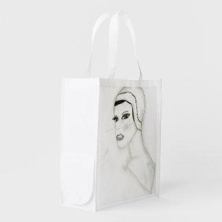 Ein neues Prallplatten-Mädchen Wiederverwendbare Einkaufstasche