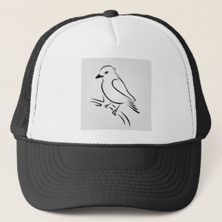 Ein niedlicher abstrakter Eisvogel, der auf einer Truckerkappe