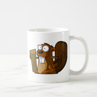 Ein niedlicher Cartoon-Biber-Charakter, der einen  Kaffeetasse