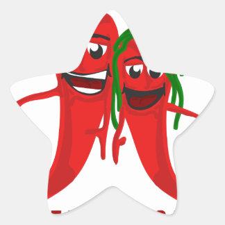 Ein Paar, das Paprikaschoten zusammen isst, bleibt Stern-Aufkleber