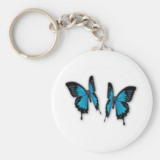Ein Paar tropische blaue Schmetterlinge Standard Runder Schlüsselanhänger
