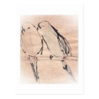 Ein Paar verbundene Parakeets im Blau Postkarte