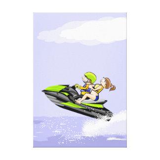 Ein Partner kommt sehr schnell in seinem Jet Ski Leinwanddruck