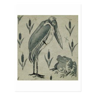 Ein Pelikan und ein Frosch im Gespräch (w/c auf Postkarte
