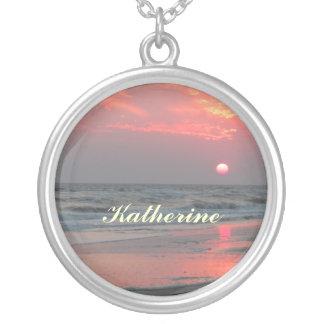 Ein perfekter Sonnenuntergang - Eichen-Insel, NC Versilberte Kette