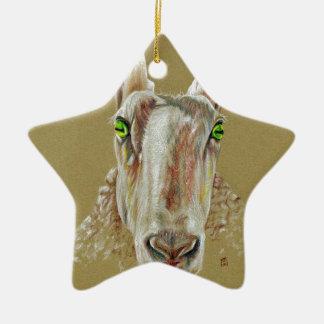 Ein Porträt eines Schafs Keramik Ornament