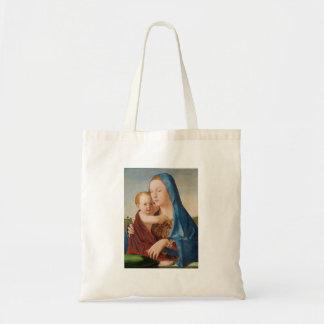 Ein Porträt von Mary und von Baby Jesus Tragetasche