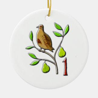 Ein Rebhuhn in einem Birnenbaum Keramik Ornament