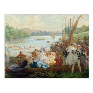 Ein Regatta bei Asnieres während des zweiten Postkarte