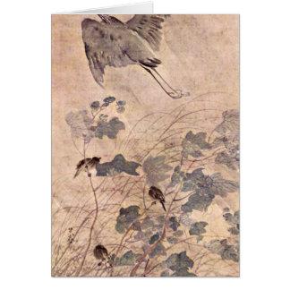 Ein Reiher auf Malvenbaum durch Matsumura Goshun Grußkarte