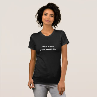 Ein Rennen. Gerade menschlich. Schwarzer T - Shirt