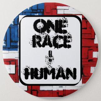 Ein Rennen, MENSCHLICH. Knopf Runder Button 15,3 Cm
