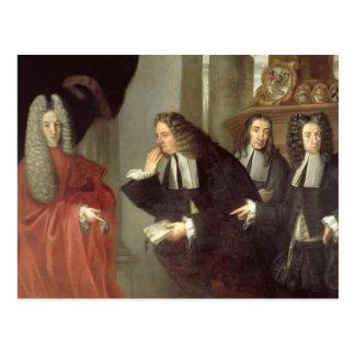 Ein Richter und drei Anwälte, venezianische Schule Postkarte