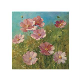 Ein rosa Blumengarten Holzleinwand