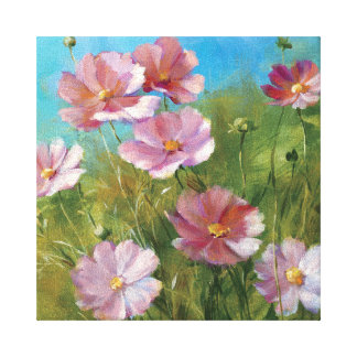 Ein rosa Blumengarten Leinwanddruck