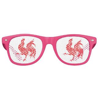 Ein roter Hahn Partybrille