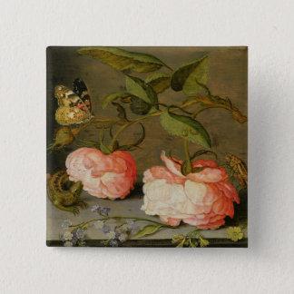 Ein ruhiges Leben mit Rosen auf einer Leiste Quadratischer Button 5,1 Cm