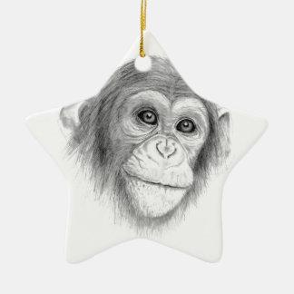 Ein Schimpanse, nicht herum Monkeying Skizze Keramik Ornament