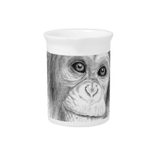 Ein Schimpanse, nicht herum Monkeying Skizze Krug