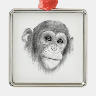 Ein Schimpanse, nicht herum Monkeying Skizze Quadratisches Silberfarbenes Ornament