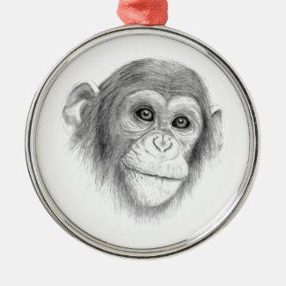 Ein Schimpanse, nicht herum Monkeying Skizze Silbernes Ornament