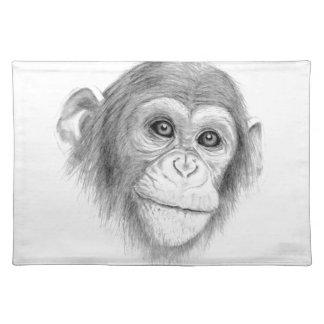 Ein Schimpanse, nicht herum Monkeying Skizze Tischset